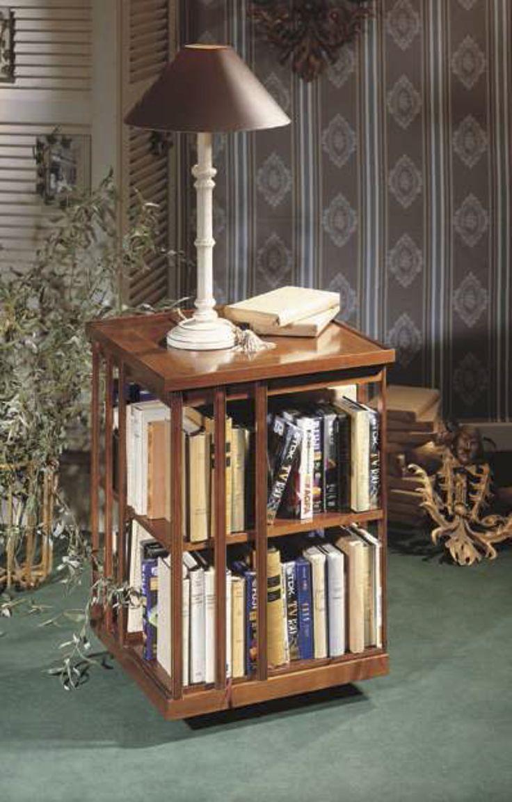 Biblioth que tournante petit mod le en bois massif avec une tag re bibl - Modele etagere murale ...