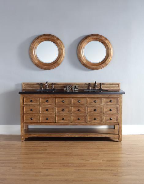 "Malibu 72"", James Martin Honey Alder Transitional Bathroom Vanity, Double Sink"