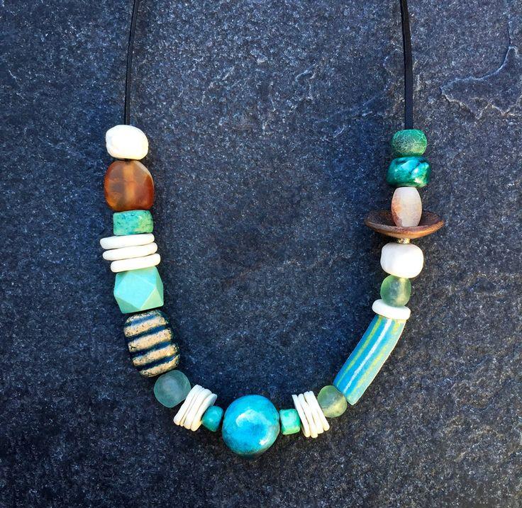 Turquoise blue and white ceramic necklace w/handmade porcelain/ Raku beads/ Fair Trade glass/ OOAK/ modern boho/ unique Gift for her/ artful by CopperLarkStudio on Etsy