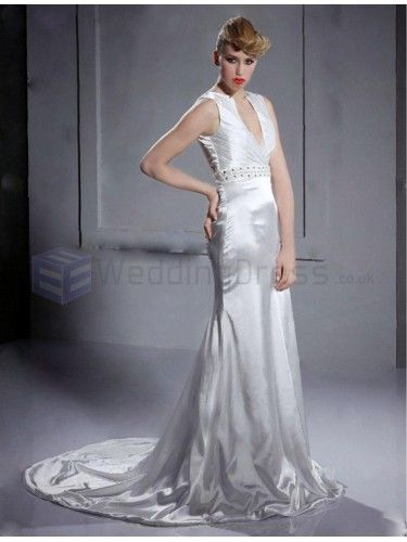 Trumpet Mermaid V-neck Sleeveless Elastic Satin Court Train Wedding Dress with Beading