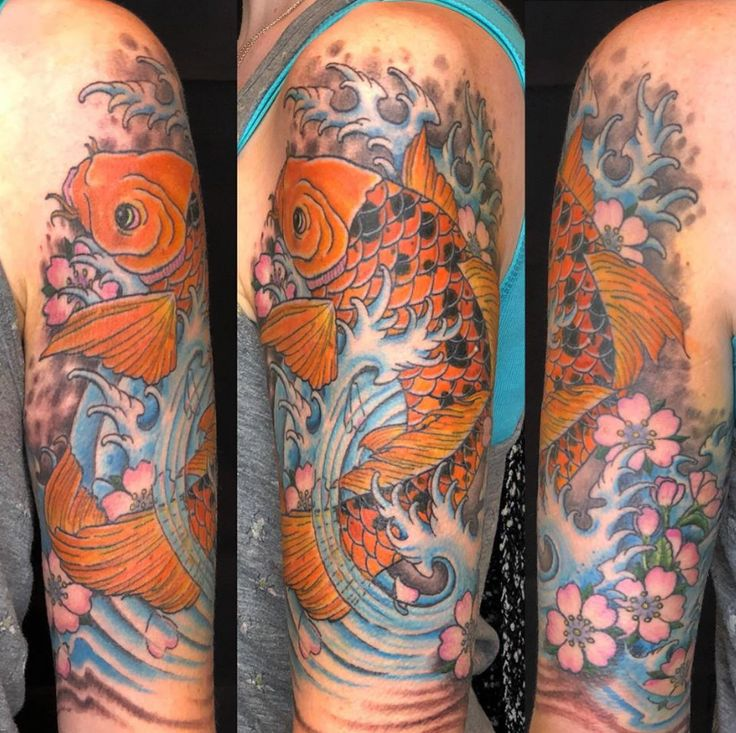 Finished koi fish half-sleeve by Carrie! #920tattoo #920tattooco #920tattoocompany #koifishtattoo #koifish #halfsleeve #color #colortattoo #920tattoo #920tattoocompany #oshvegas #oshkoshwi #midwest #midwesttattoos #koifishart #cherryblossom #uwo #uwoshkosh #midwest #tattootime #tattooer #customshop #japanesetattoo