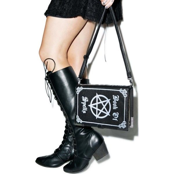 Book Of Spells Bag (51 CAD) ❤ liked on Polyvore featuring bags, handbags, shoulder bags, pocket purse, structured handbags, structured purse, snap purse and snap closure purse