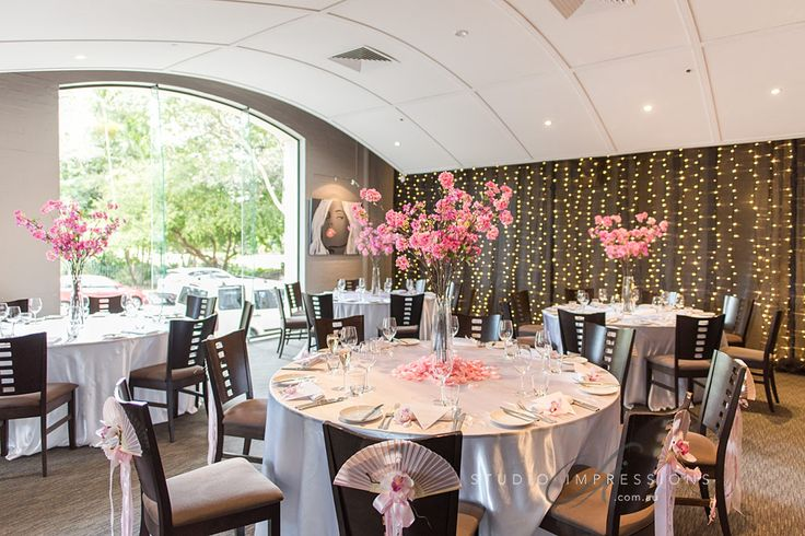 restaurant two reception space with stunning cherry blossoms