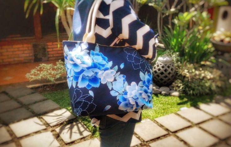 Navy Blue Flowery Bag