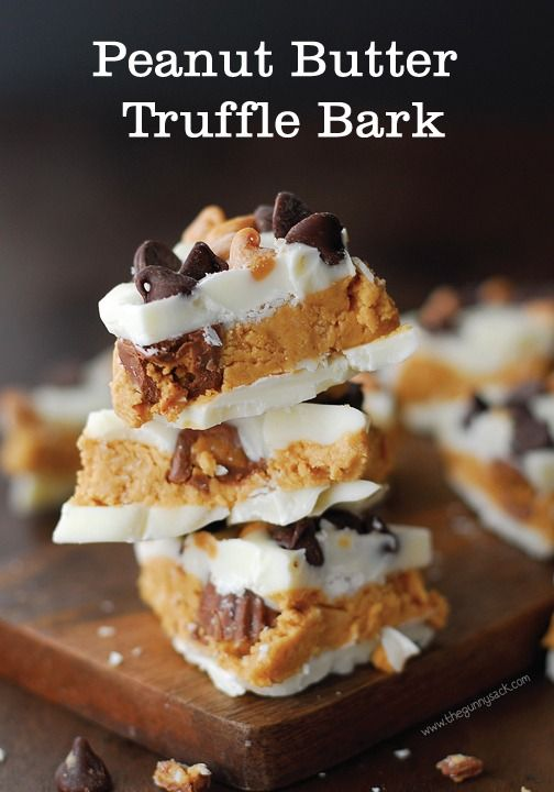 Peanut Butter Truffle Bark is the pan-sized version of peanut butter balls. This easy, no bake recipe is a delicious mixture of chocolate and peanut butter.