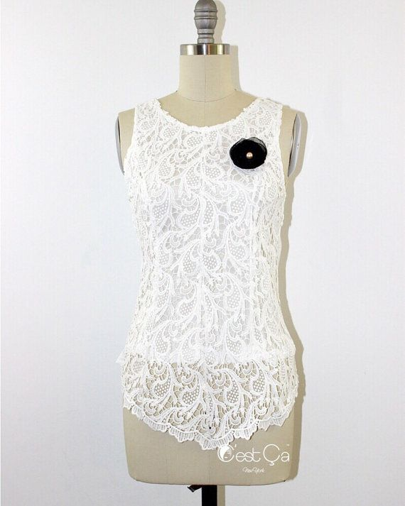 SALE Linda - White Lace Top,Crochet Lace Peplum Top, High-Low Blouse, Career Shell Top, Guipure Lace Top, Cocktail Top https://www.etsy.com/listing/188571715/sale-linda-white-lace-topcrochet-lace