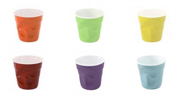 Set di 6 bicchierini da caffè accartocciati in ceramica.     Per chi non vuole rinunciare al design e al colore neanche durante la pausa caffè!