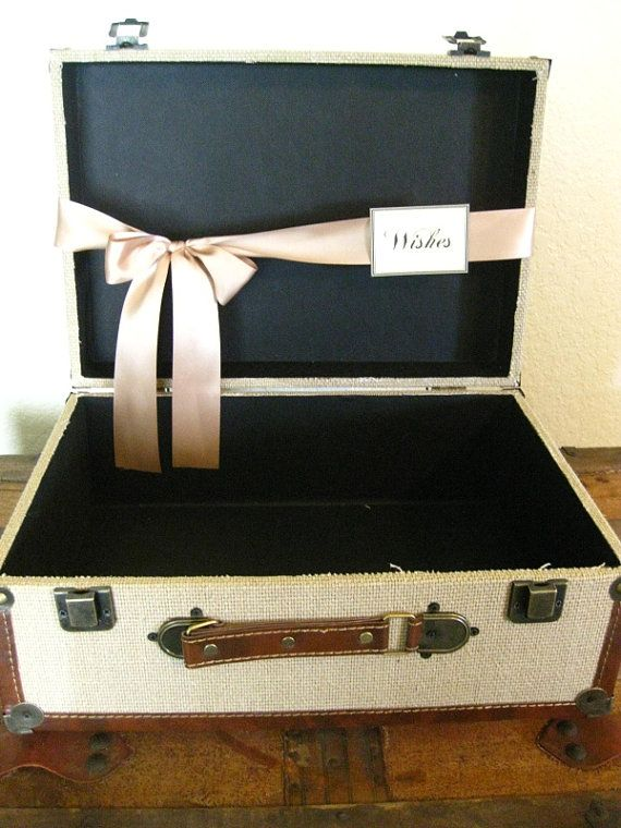 Wedding Card Box Suitcase Card Holder Vintage Style / Rustic Suitcase Burlap Card Holder Medium /  Rustic Program Holder