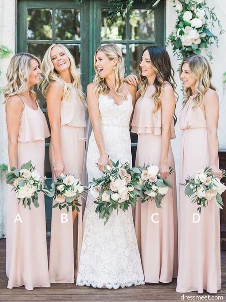 2018 Mode Elegant Mantel Pfirsich Chiffon Lange Brautjungfernkleider Unter 100 Brautjungfernkleider Ch Brautjungfern Kleider Brautjungfernkleider Braut