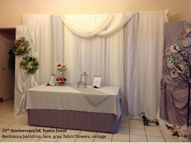 25th Anniversary DK Teams Event # lace, gray, fabric flowers, vintage