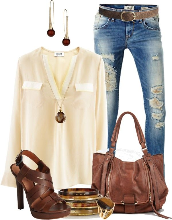 Cream flowy button down, Med. wash destroyed skinnies, Brown belt, Dk. Brown strappy heeled sandals, Chestnut leather satchel, Long gold/brown necklace, Gold/brown earrings, Gold bangles, Gold/brown ring