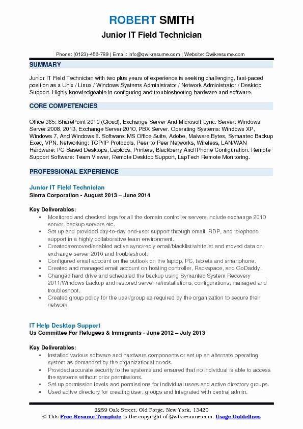 Desktop Support Technician Resume Luxury It Field Technician Resume Samples In 2020 Resume Examples Business Analyst Resume Job Resume Samples