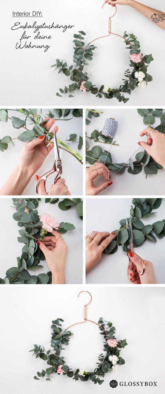 Interior DIY: Bastel Frühlingshänger aus Kleiderbügeln