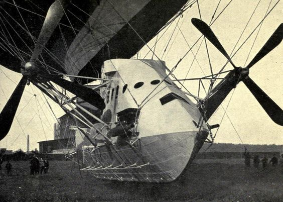 """Image: Bow of the gondola of German naval airship PL19. The PL 19 was intended for the British Royal Navy as """"Parseval No.5"""", but upon war's outbreak was used instead by the German Navy.   www.airshipcenter.com"""