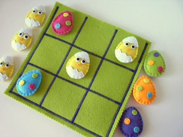 Easter Tic Tac Toe game set  -  Felt Easter Eggs and Chicks tic tac toe - READY TO SHIP - Felt Easter Toy. $45.00, via Etsy.