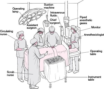 Operating Room Team: Surgeon, Assistant surgeon, Anaesthetist, Anaesthetic nurse, Scrub nurse, Circulating nurse & Theatre technician