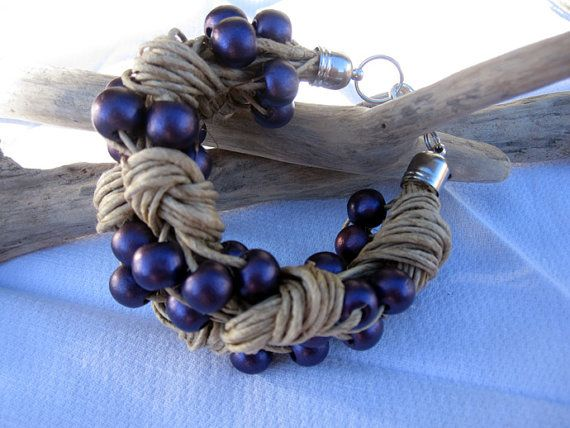 Bracelet linen purple wood beads knots eco chic cool by espurna88, €21.90
