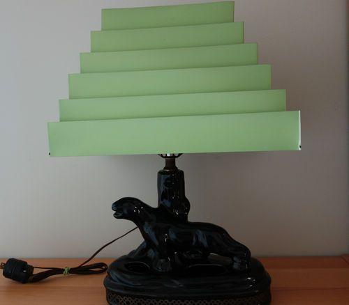 Vintage Mid Century 1950 Ceramic Panther Tv Table Lamp