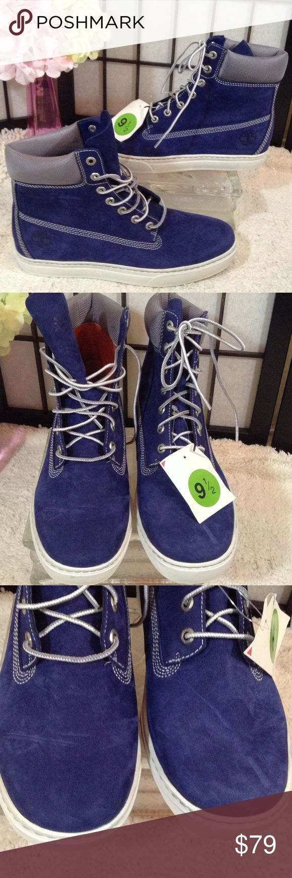 Men's Timberland blue suede boots Boots or sneakers - call them whatever you like - but they look good! Gorgeous blue color leather - suede but very short nap; gray trim; NWOT except size tag; size 9.5M Timberland Shoes Boots