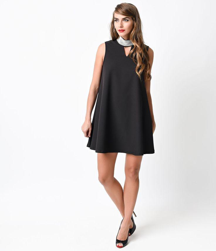 1960s Mod Style Black Beaded Collar Shift Dress