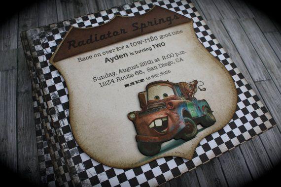 CARS...Tow Mater Invitation by kutekardz on Etsy, $6.75
