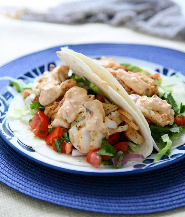 Grilled Fish Tacos with Chipotle Mayonnaise. I'll probably add a ...