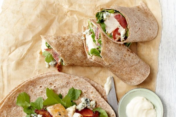 Chicken Bacon Wraps - Everything's better with bacon! Chicken salad doesn't always inspire, but this one, dotted with crumbled blue cheese and crisp bacon, certainly does. Try it on your favourite bread as a sandwich.