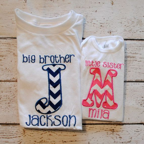 Sibling Shirt/Onesie Shirt Big Brother, Little Sister, Big Sister, Little Brother with Initial and Name on Etsy, $28.00