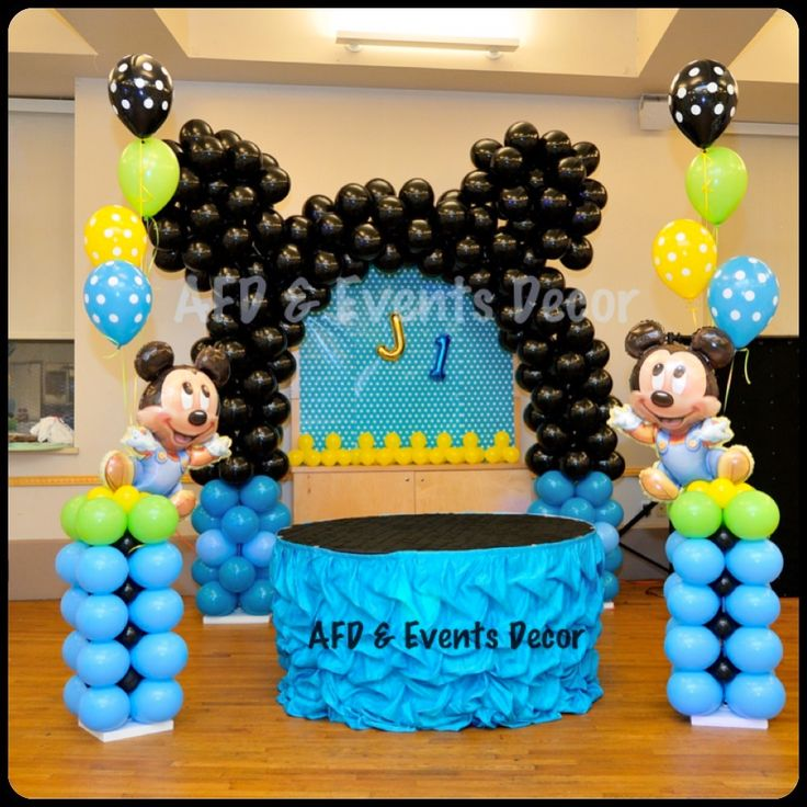 baby mickey mouse themed birthday party decor by