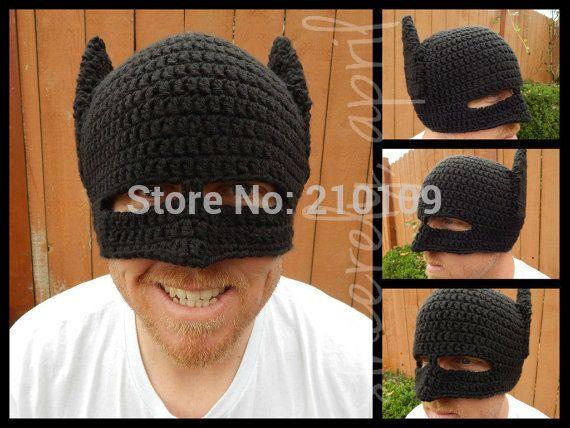 Новинка ручной зима шапочка крючком прохладный бэтмен маска вязаные шапки шлем EarFlap женщин людей зимние шапки ну вечеринку gorros подарки купить на AliExpress