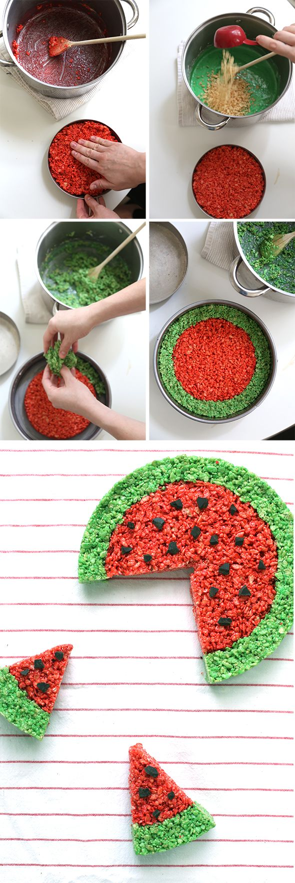 Watermelon Rice Krispie... I'm going to do this for Anna since we recently found out she is allergic to watermelon