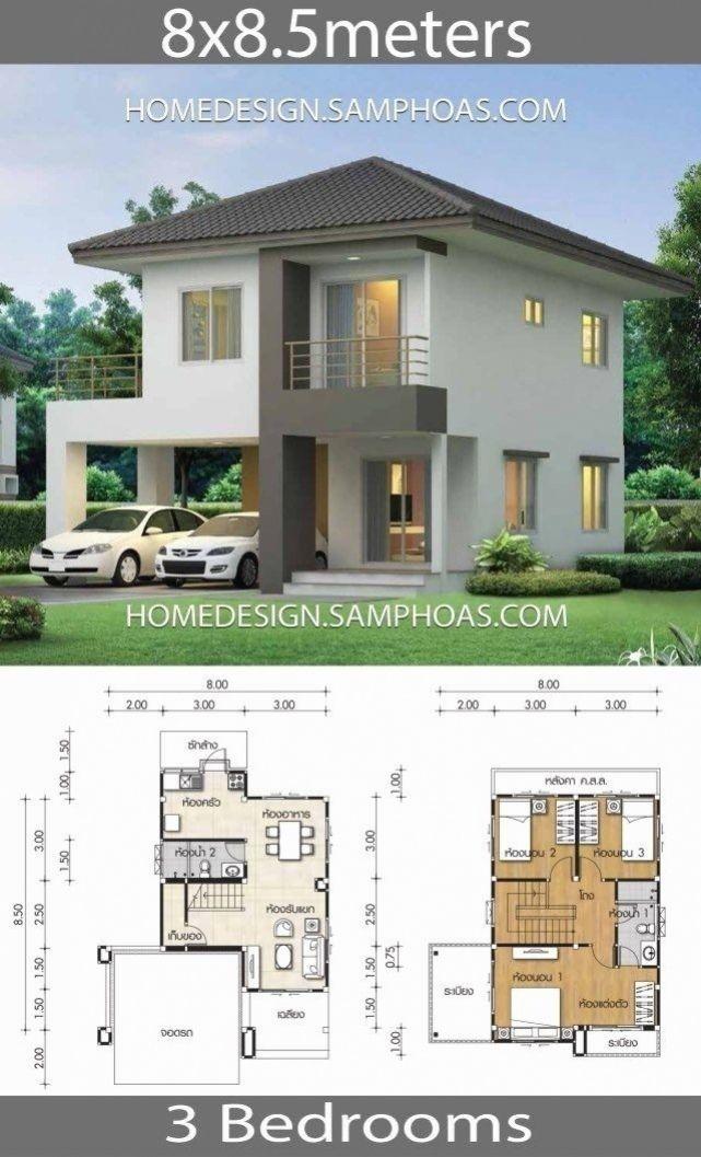 Sims 3 Modern House Ideas Elegant House Plans 8 8 5m With 3 Bedrooms Arsitektur Desain Rumah Minimalis Rumah Minimalis