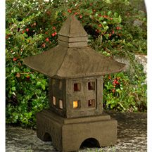 """Place this traditional Japanese stone garden lantern at the junction of paths, near a water basin, or at the edge of a pond or stream. 40 lbs., 18"""" h"""