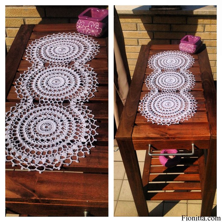 Crochet table runner. Pattern at: http://fionitta.com/2012/doily-crochet-table-runner