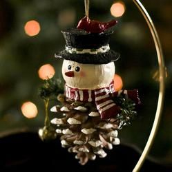 snowman pinecone ornament