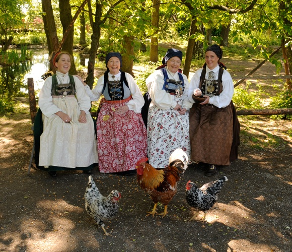 Anna Löfgren, to the right, brought her daughter, mother and grandmother, showing the beautiful folk costumes from Torna Härad in Skåne.