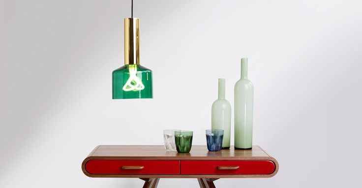 Rehm Pendant Lamp and Plumen 001 Bulb, Emerald Green and Brass   made.com