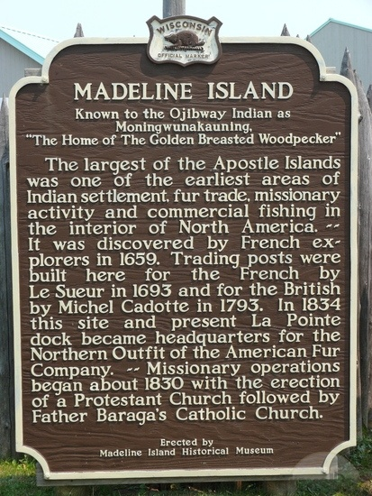 """Madeline Island- where Pia Madeline's middle name was derived.  Here's the sign which Chris read to me and I explained it as """"so the princess said 'I want the biggest island, daddy'"""". Fits our Pia to a tee."""