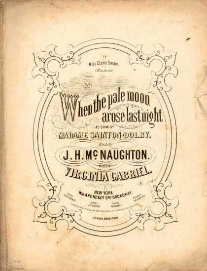 Sheet Music - When the pale moon arose last night