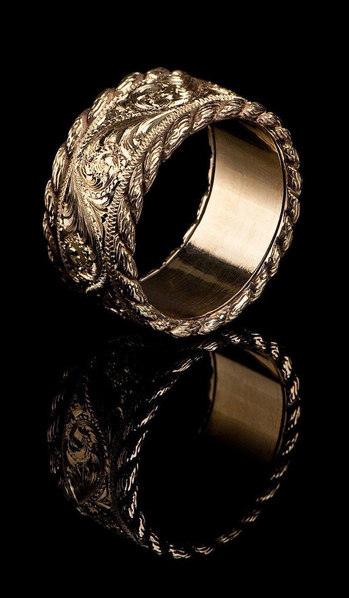 western design wedding bands western style wedding rings Western Style Gold Band GR