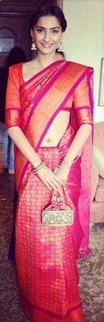 Sonam Kapoor in Orange Kanjivaram Sari - MinMit Clothing