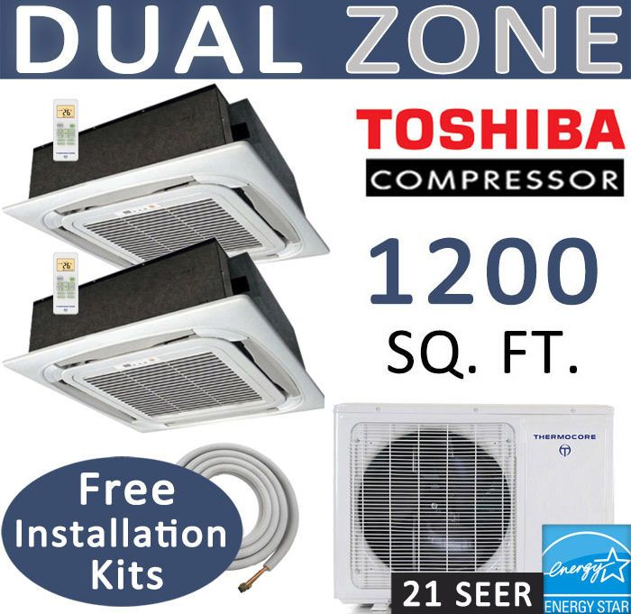 Dual Zone Ductless Mini Split Air Conditioner - 2 x 12000 BTU : CEILING CASSETTE #Thermocore