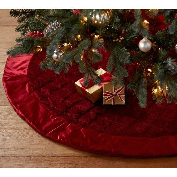 Pottery Barn Shiny Velvet Quilted Tree Skirt Featuring Polyvore, Home, Home  Decor, Holiday