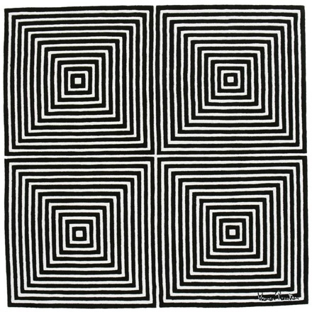 This 1970s carpet design by Verner Panton- still in production today- was a source of great inspiration when I was created OP ART pieces in 2011.  I made some very similar designs which appeared in a number of gallery installations that year.