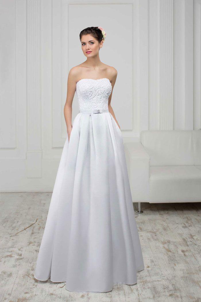 Najkrajšie svadobné šaty so saténovou sukňou, s prírodnou krajkou
