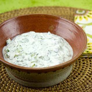 Raita is a cucumber and yogurt sauce or dip usually used with Indian or Pakistani food.