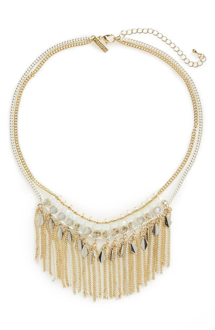 Topshop Facet & Tassel Drop Collar Necklace