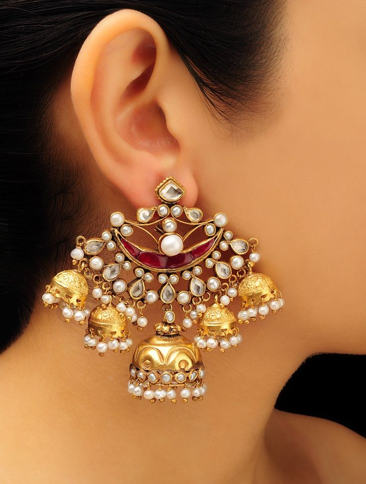 Buy Gold White Silver Pink Pearl Chandbali Jhumkis Zircon 92.5% Sterling Online at Jaypore.com