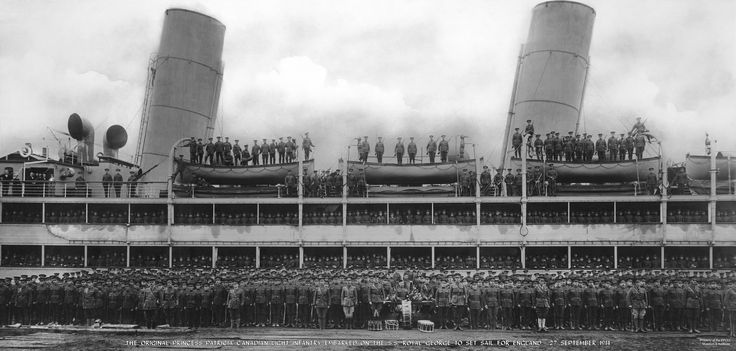 The Original Princess Patricia's Canadian Light Infantry embark for England 27th September 1914 on the SS Royal George.