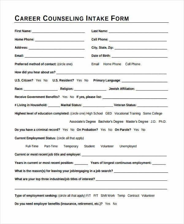 Counseling Intake Form Template Beautiful 38 Counseling Forms In Pdf Counseling Forms Treatment Plan Template Career Counseling